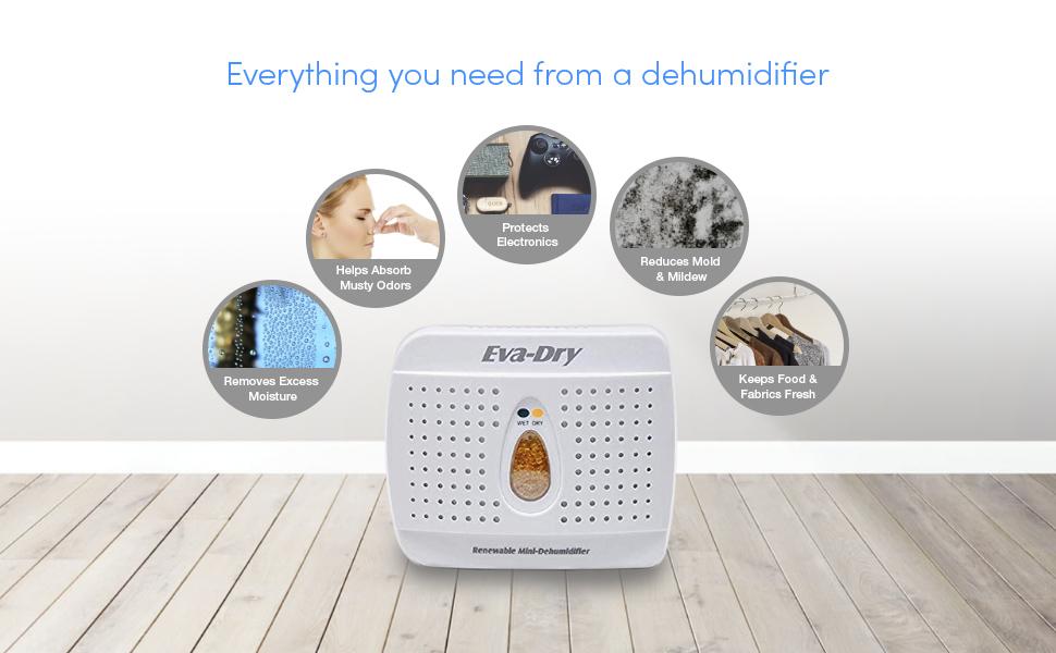 Amazon Com Eva Dry Wireless Mini Dehumidifier Top Moisture Absorber For Small Spaces