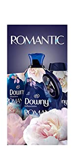 downy infusions fabric conditioner romantic scent, fabric softener, washing machine, dryer sheets