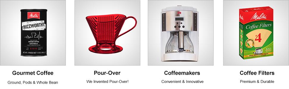 melitta, coffee, pour-over, coffeemakers, filters, cone, gourmet, premium