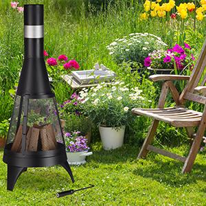 Relaxdays, Negro Chimenea de jardín, Brasero Abierto, Fogón Decorativo, Atizador, Ø 45 cm, Acero: Amazon.es: Jardín