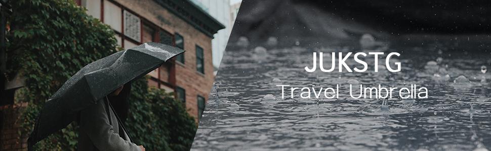 Travel Umbrella 8 Ribs Finest Windproof Diversified Glass Window Umbrella with Teflon Coating Auto Open Close and Upgraded Comfort Handle