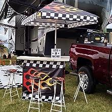 auto racing, tailgating, racing flames, portable bar, party bar, tailgating bar, portable bar