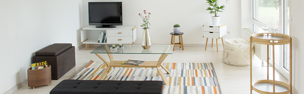 Relaxdays Banco Almacenaje Acolchado con 2 Cajones, DM y Tela, Blanco, 48,5 x 87 x 38 cm, MDM