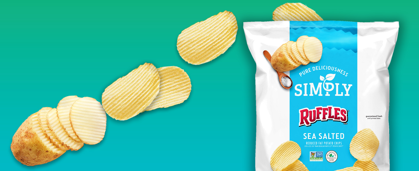 simply ruffles potato chips non gmo no artificial flavors preservatives reduced fat healthy snack