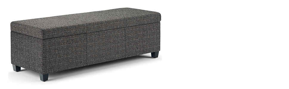 Peachy Simpli Home Axcf18 Dgr Avalon 48 Inch Wide Contemporary Rectangle Storage Ottoman Bench In Dark Grey Tweed Fabric Alphanode Cool Chair Designs And Ideas Alphanodeonline
