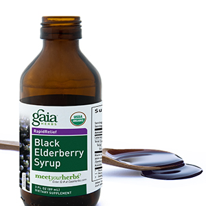 Gaia Herbs Black Elderberry Syrup Bottle with Spoon
