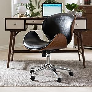 Amazon Com Baxton Studio Bruce Modern Office Chair Walnut Black Furniture Decor