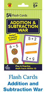 addition and subtraction war flash cards