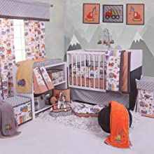 Bacati Construction Orange/Yellow/Grey Bedding Collection