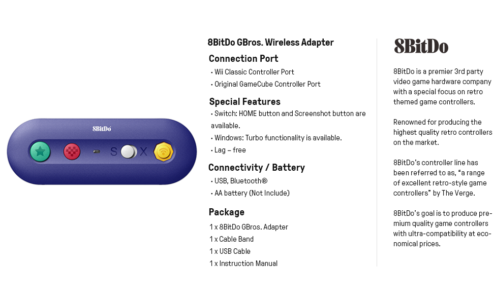 8bitdo gbros adapter gamecube Wireless Adapter for Switch NES, SNES, SFC Classic Edition Wii Classic