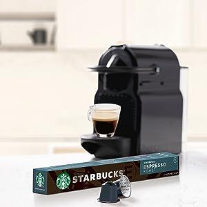 STARBUCKS Espresso Roast de NESPRESSO Cápsulas de café de tostado intenso, 8 x tubo de 10 unidades