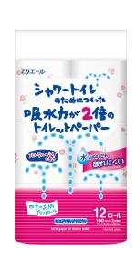 エリエール シャワートイレのためにつくった トイレットペーパー 吸水力が2倍 フラワープリント香水付き 23m(100シート)×12ロール ダブル フローラルブーケの香り パルプ100%