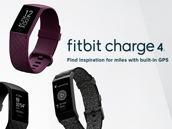 fitbit Charge 4 watches on a grey toned background