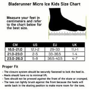 Size chart for ice skates