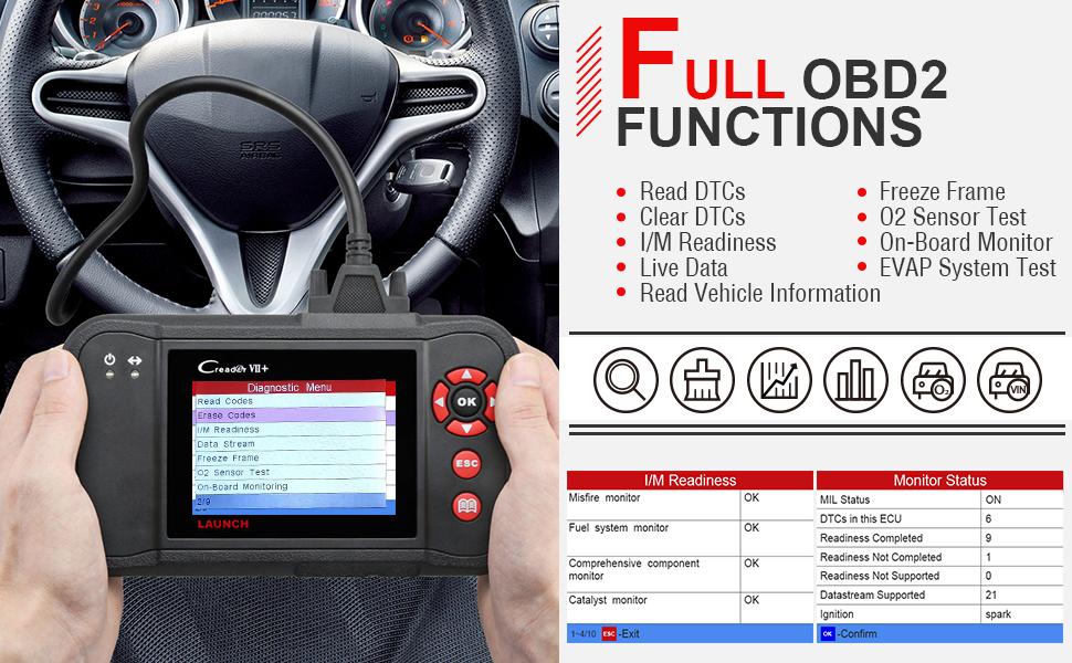 Launch Creader VII+ OBD2 Scanner ABS SRS Transmission and Engine Code  Reader Diagnostic Scan Tool