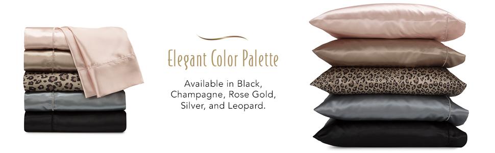 Satin sheets, leopard print satin sheets, sheet set, satin, pillowcase, bedding, silky, soft, black