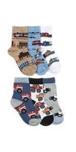 Jefferies Socks Little Boys' Trains/Trucks/Cars Pattern Crew 6 Pack