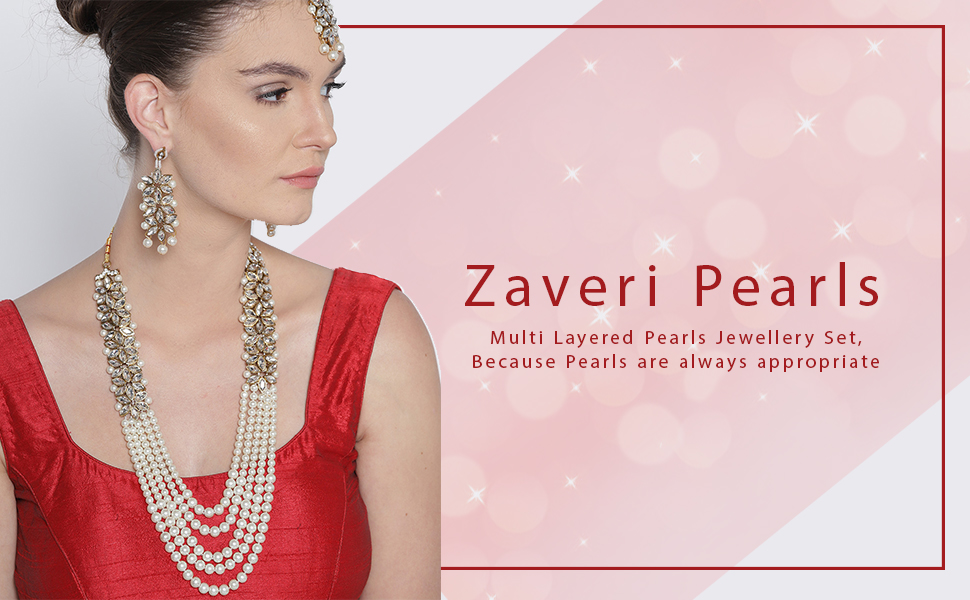 Zaveri Pearls,jewellery,necklace set,set,pearls set,pearls jewellery,layered jewellery set,pearl