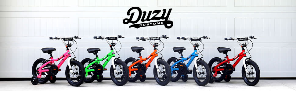 duzy bikes lined up along a wall