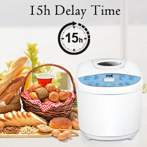 KBS Automatic Bread Machine, 2.2LB Stainless Steel Bread Maker with Fruit Nut Dispenser, Ceramic Pan, Smart Touch Button, 17 Programs, 3 Loaf Sizes, 3 ...