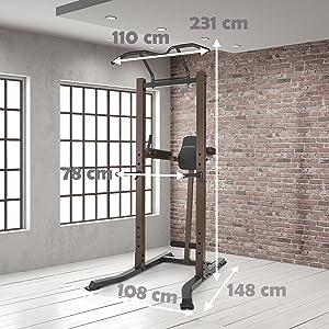 SteelBody stb-98501 Deluxe - Barra de dominadas y Dip Torre de ...