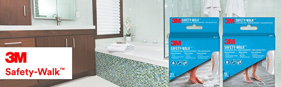 3M Safety-Walk packaging and bathroom in background