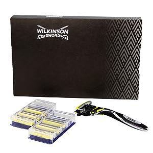 Wilkinson Sword Pack Ffp ECO box Hydro 5 Sense - Kit de maquinilla de afeitar de 5 hojas para hombre + 7 recambios de cuchillas, afeitado manual masculino: Amazon.es: Salud y cuidado personal