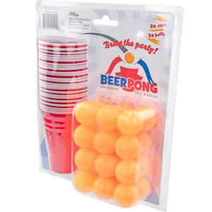 Fairly Odd Novelties Beer Pong Set, 24 Red Cups and Ping Pong Balls