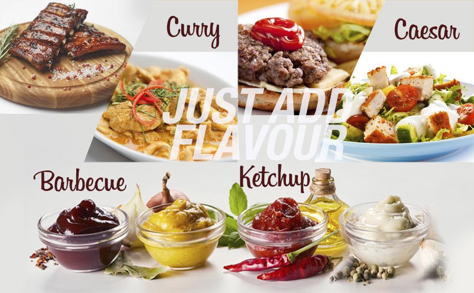 Barbacoa, ketchup, cesar, curry, salsa cero grasas