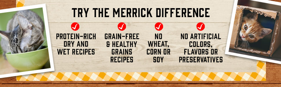 Cat eating, playful cat peeking from box. Try the Merrick difference, in protein rich dry and wet