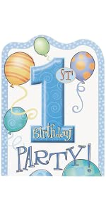 Blue 1st Birthday Candle Light Cardboard Cupcake Stand High Chair Decorating Kit 4pc Party Hats 8ct