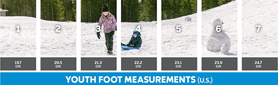Youth snow boot size chart