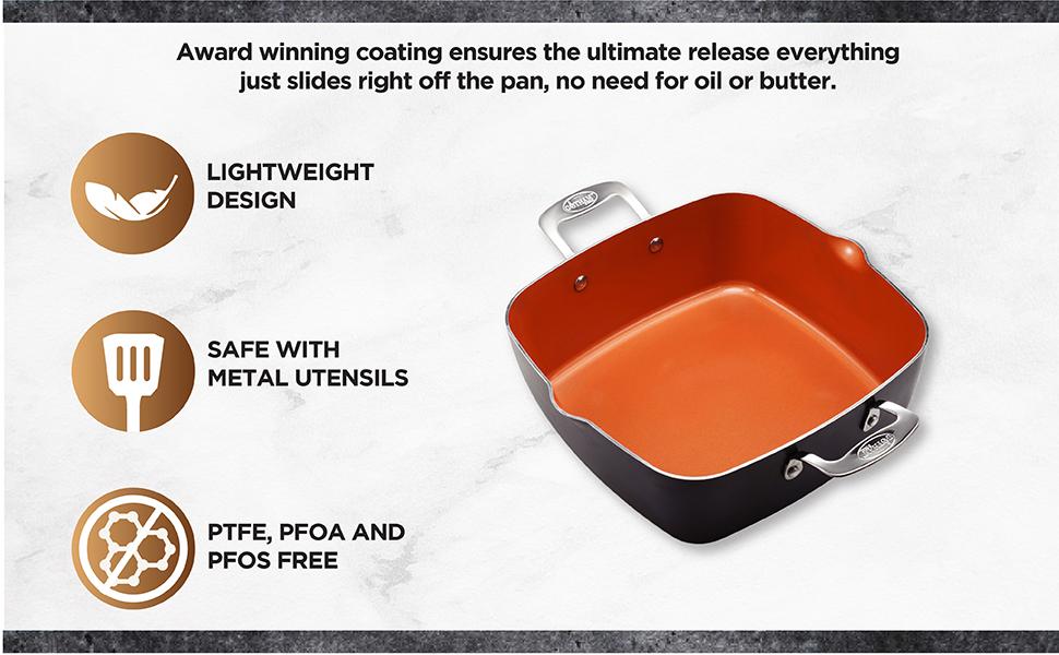 4 PC Nonstick Ti-cerama, 6 qt XL Pan Pot, Fry Basket, Non Toxic, Metal Utensil Safe, Gotham Steel