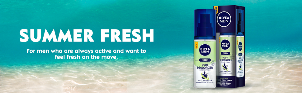 NIVEA MEN Duo summer fresh variant, this bottle has green liquid on top and transparent below.