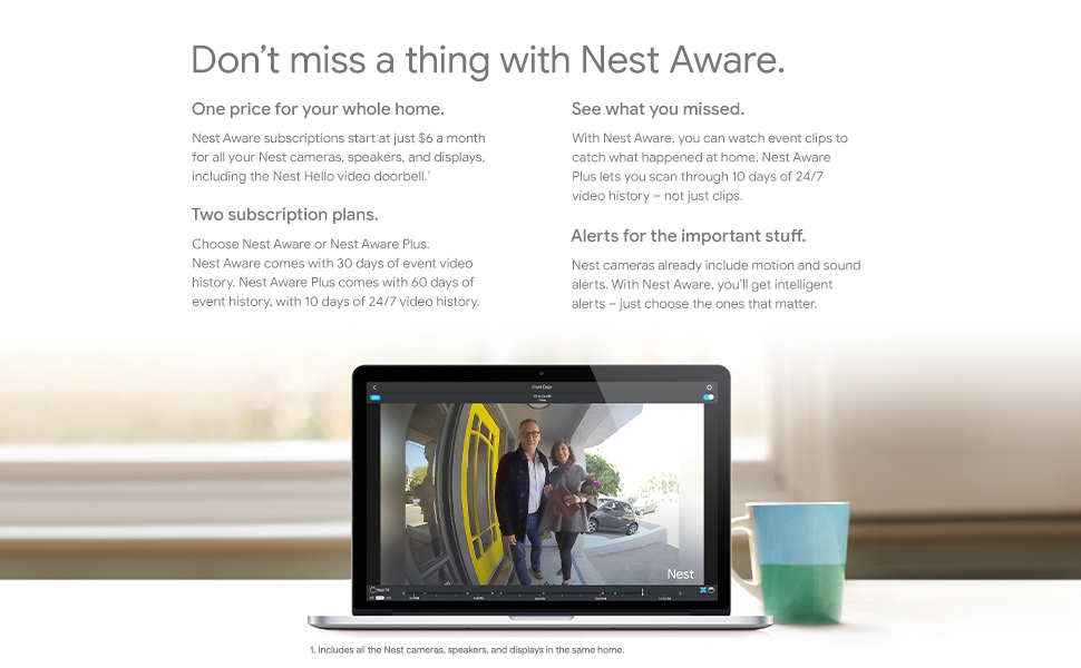 Nest Aware Subscription Service for Google Nest Camera