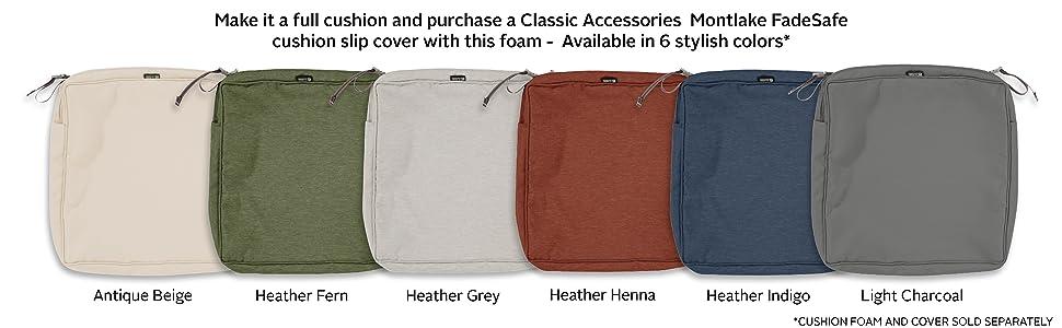 Classic Accessories Square Patio Cushion Foam