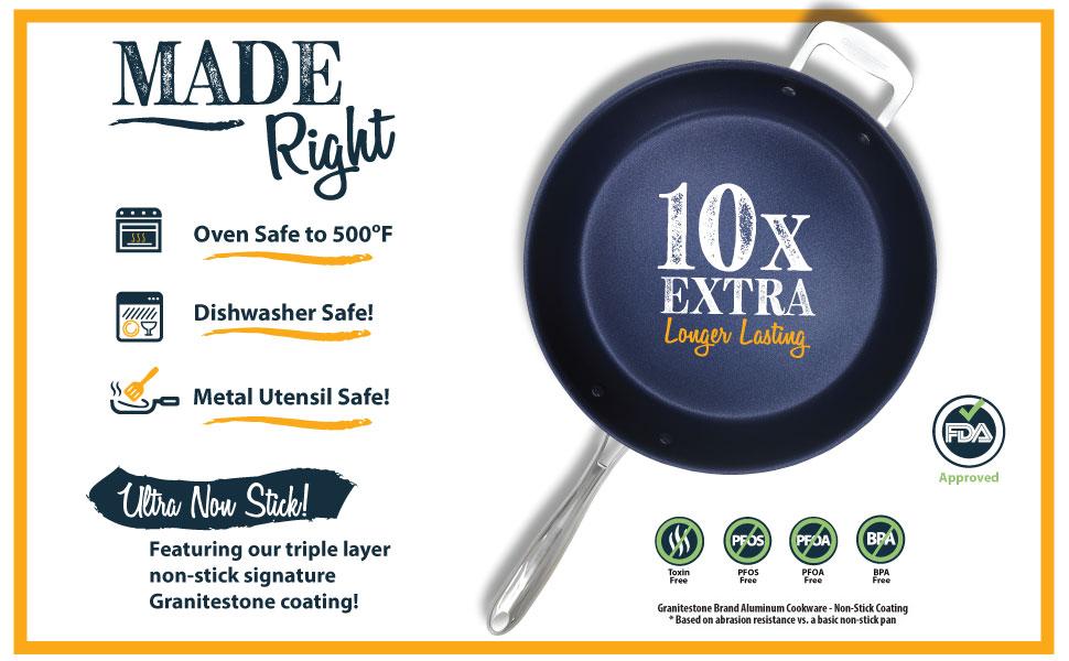 oven safe, dishwasher safe, metal utensil safe, non-stick, granitestone blue, non toxic, 14 inch pan