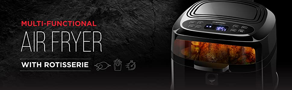 Amazon Com Chefman 6 8 Quart Air Fryer Oven W Rotisserie