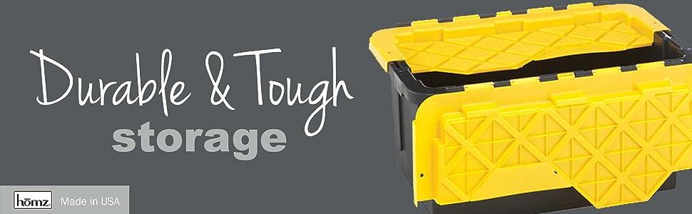Homz tough durabilt storage garage heavy duty flip lid easy strong durable shed tools utility