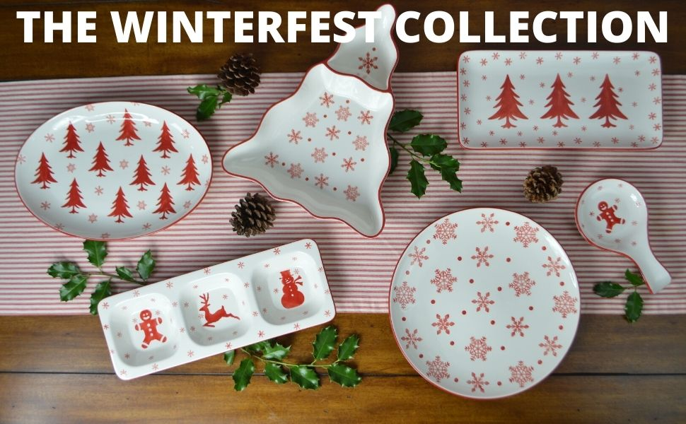 WINTERFEST COLLECTION EURO CERAMICA stoneware dinnerware set high quality ceramic