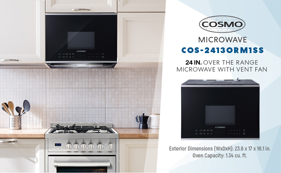 cosmo cos 2413orm1ss over the range microwave oven with vent fan 1 34 cu ft capacity 1000w 24 inch black stainless steel