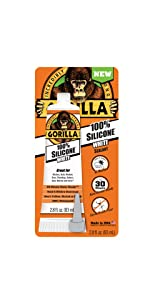 Gorilla White silicone sealant squeeze tube