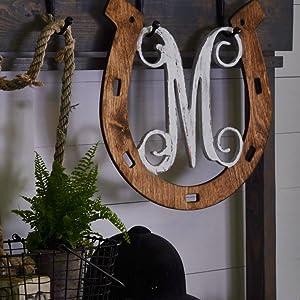 """Horseshoe Vine Monogram Letter """"M"""""""