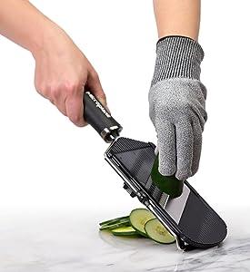 microplane grater, glove
