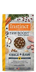 instinct, instinct raw boost, high protein kibble, freeze dried dog food, stella and chewys