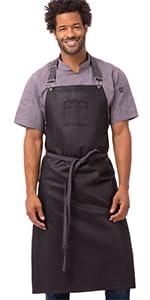 Chef Works Unisex Boulder Chefs Bib Apron, Purple/Black