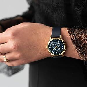 9f89f81ed Amazon.com: Timex Women's TW2R95100 Crystal Opulence Black Leather ...