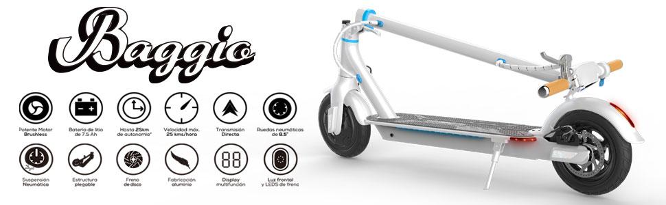 SmartGyro Xtreme Baggio White - Patinete eléctrico, APP, ruedas 8.5