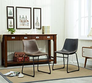 Roundhill Furniture Lotusville Vintage PU Leather Dining Chairs
