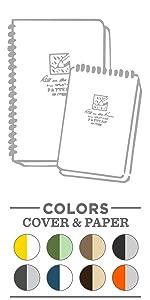 Spiral notebook, spiral notepad, spiral journal, wire-o, all weather, weatherproof, waterproof